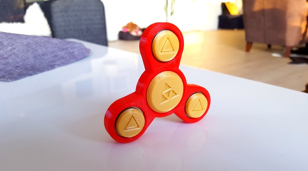 Red and Yellow Fidget Spinner 3D Printed